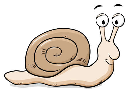 cochlea: vector illustration of a cartoon snail with snail shell