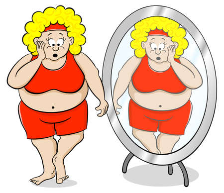 miserable: vector illustration of a overweight woman is shocked in front of a mirror