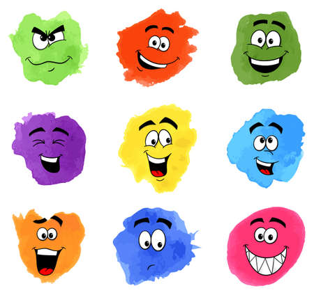 vector illustration of color patches with emotional faces Ilustração