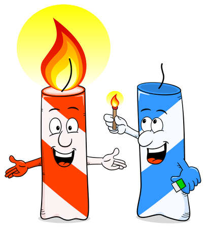 kindle: vector illustration of a cartoon of a birthday candle that ignites another candle