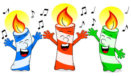 lit candles: vector illustration of cartoon birthday candles singing a birthday song