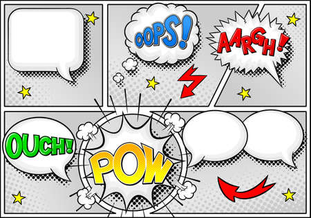 border cartoon: vector illustration of some comic frames as background with speech bubbles