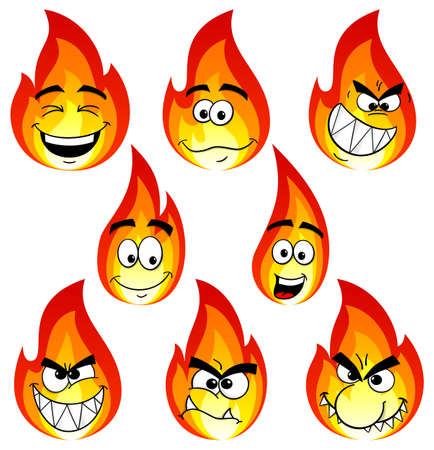 face  illustration: vector illustration of flame cartoons with many faces isolated on white background