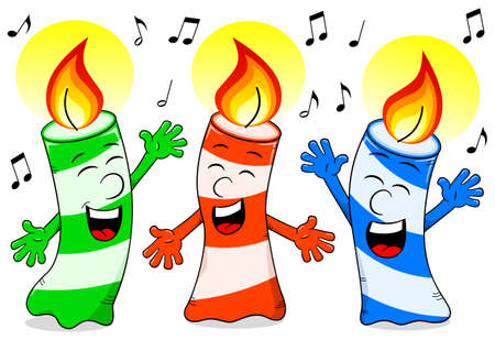 vector illustration of cartoon birthday candles singing a birthday song