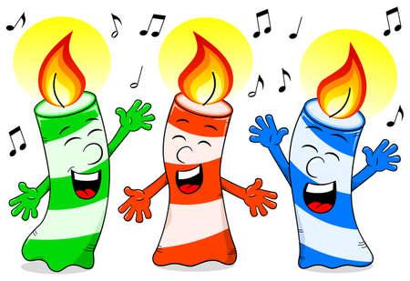 vector illustration of cartoon birthday candles singing a birthday song