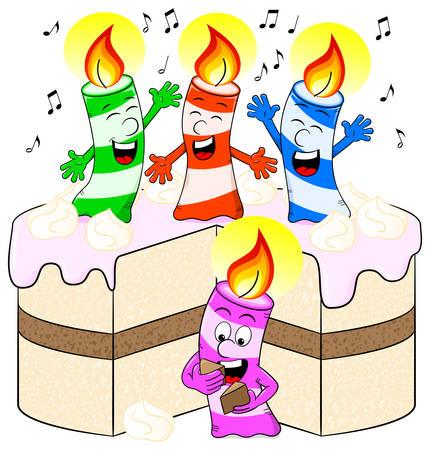 jubilate: vector illustration of candles on cake celebrate birthday