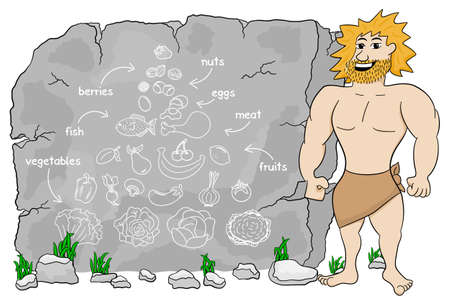 cave dweller: vector illustration of a cave man explains paleo diet using a food pyramid drawn on stone