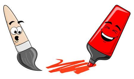 felt tip pen: vector illustration of cartoon felt tip pen and paintbrush on white Illustration