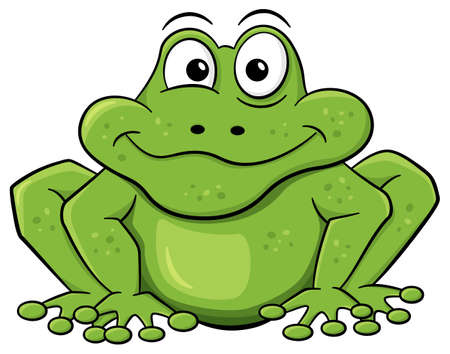 peek: vector illustration of a green cartoon frog isolated on white
