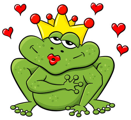 rana principe: ilustración vectorial de un príncipe de la rana de dibujos animados de espera para ser besado Vectores