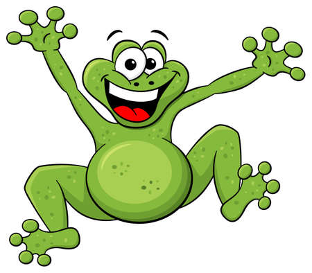 vector illustration of a jumping cartoon frog isolated on white Vector