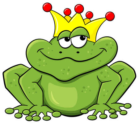 frog prince: vector illustration of a cartoon frog prince waiting to be kissed