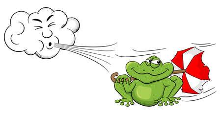 ilustración vectorial de una nube de dibujos animados que sopla el viento en una rana con el paraguas