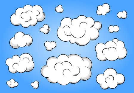 nubes caricatura: ilustraci�n vectorial de nubes de dibujos animados sobre fondo azul Vectores