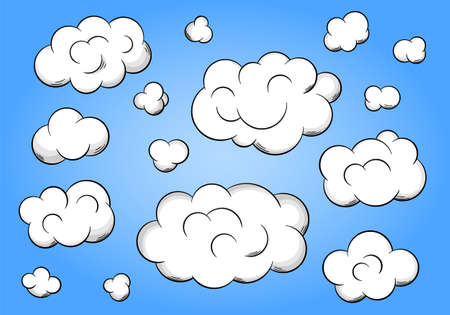 vector illustration of cartoon clouds on blue background Reklamní fotografie - 40831302