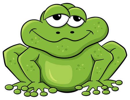 rana caricatura: ilustración vectorial de una rana de dibujos animados verde aislado en blanco