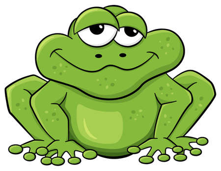 vector illustration of a green cartoon frog isolated on white