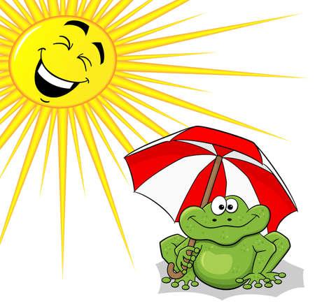 the frog: ilustración vectorial de una rana de dibujos animados con la sombrilla y del sol Vectores