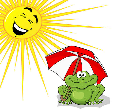 sunshade: vector illustration of a cartoon frog with sunshade and sun
