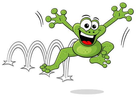 saltar: ilustración vectorial de una rana de dibujos animados saltando aislado en blanco Vectores