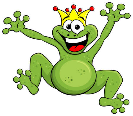 frog prince: vector illustration of a jumping cartoon frog prince isolated on white