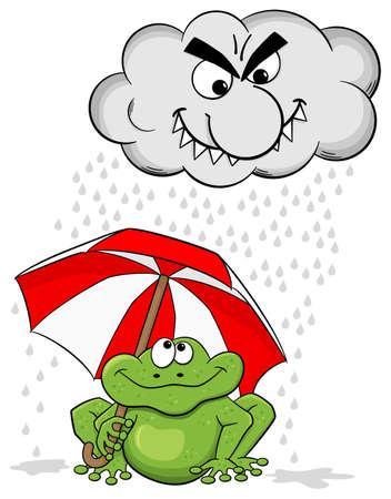 smirking: vector illustration of a cartoon frog with umbrella and rain cloud Illustration
