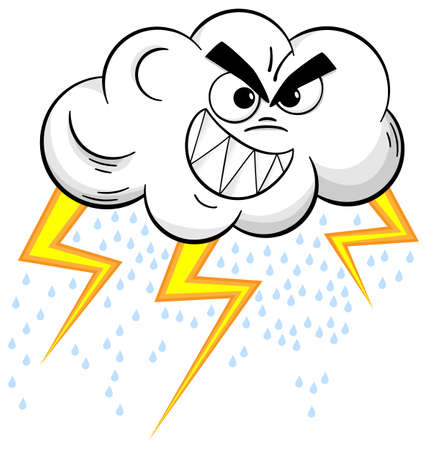 vector illustration of a cartoon thundercloud isolated on white