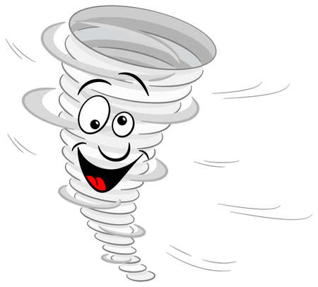 vector illustration of a cartoon tornado on white background