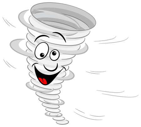 vector illustration of a cartoon tornado on white background Vector