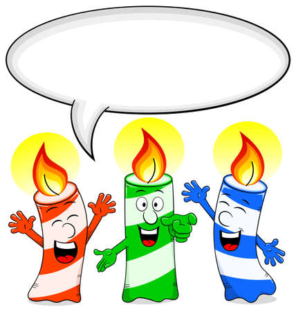 felicitate: vector illustration of cartoon birthday candles congratulate with speech bubble