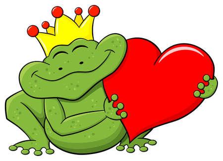 rana principe: ilustración vectorial de un príncipe rana sosteniendo un corazón rojo Vectores