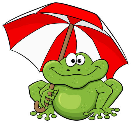 vector illustration of a cartoon frog with umbrella Illustration