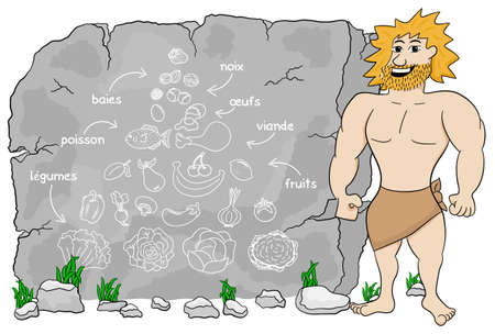 cave dweller: vector illustration of a cave man explains paleo diet using a food pyramid drawn on stone (french) légumes = vegetables; fruits = fruits; viande = meat; poisson = fish; œufs = eggs; baies = berries; noix = nuts