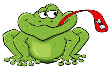 mosca caricatura: ilustración vectorial de una rana que coge una mosca con su lengua