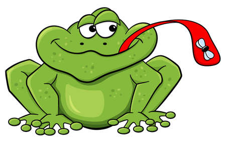 licking in isolated: vector illustration of a frog who catches a fly with his tongue