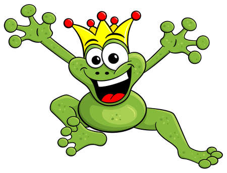 vector illustration of a jumping cartoon frog prince isolated on white