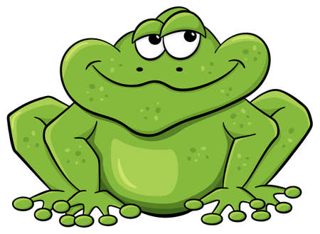 froggy: vector illustration of a green cartoon frog isolated on white
