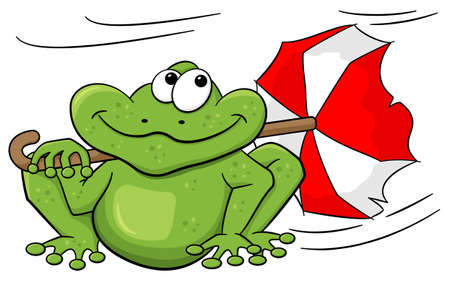 waft: vector illustration of a frog with umbrella sitting in storm