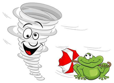 vector illustration of a cartoon tornado with frog Vector