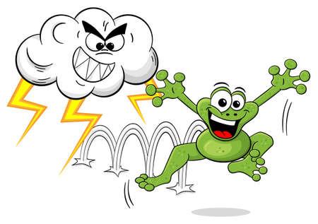 vector illustration of a cartoon frog escapes a thunderstorm