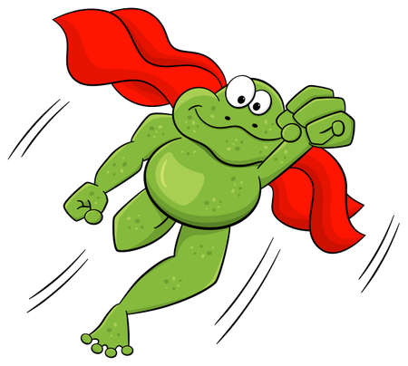 vector illustration of a frog hero who jumps with cape Vector