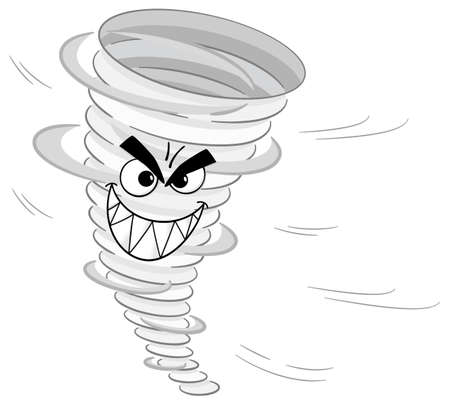 whirlwind: vector illustration of a cartoon tornado on white background