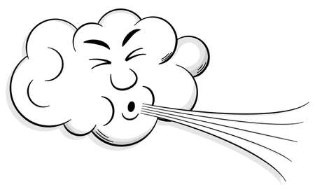 storms: vector illustration of a cartoon cloud that blows wind