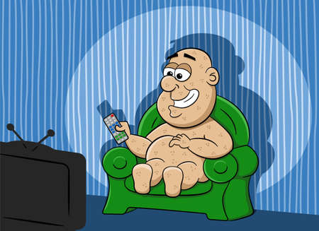 inactive: vector illustration of a couch potato watching tv Illustration
