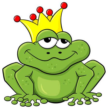 be kissed: illustrazione vettoriale di un cartone animato di attesa frog prince di essere baciato