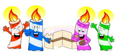 Vector illustratie van kaarsen vieren een verjaardag met cake
