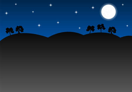 nightly: vector illustration of a nightly landscape as background with copy space