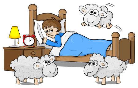 pecora: illustrazione vettoriale di pecore che salta sopra il letto di un uomo insonne Vettoriali