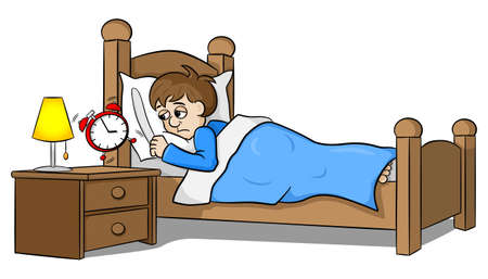 awakened: vector illustration of a sleepless man wakes up in the morning by the alarm clock