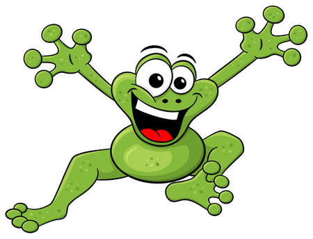 frisk: vector illustration of a jumping cartoon frog isolated on white